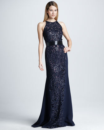 Sequined Cutout Embroidered Gown