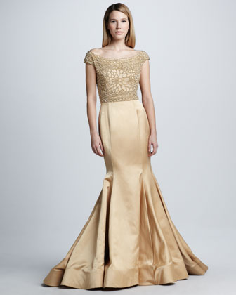 Beaded Cap-Sleeve Mermaid Gown