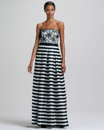 Strapless Striped Gown