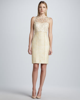 Sleeveless Lace Illusion Tweed Dress