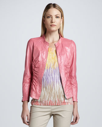 Ruched Leather Moto Jacket