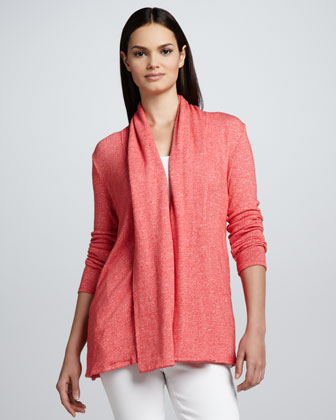 Hidden-Button Melange Knit Cardigan
