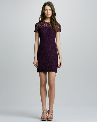 Lace Dress with Semisheer-Yoke
