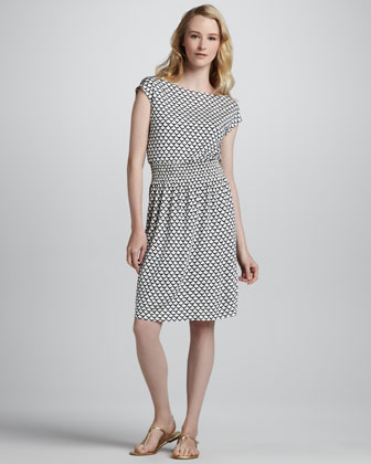 Justina Scallop-Print Dress
