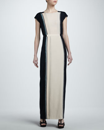 Colorblock Crepe Cap-Sleeve Maxi Dress