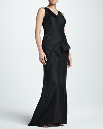 Raw-Edge Layered Organza Gown, Black