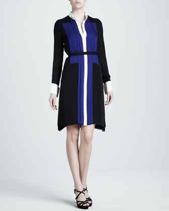 Colorblock Georgette Shirtdress