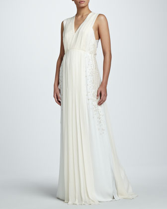 Side-Panel Mousseline Gown
