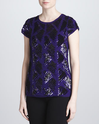 Sequined Mousseline Top, Iris/Black