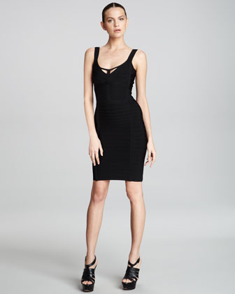 Scoop-Neck Cutout Bandage Dress