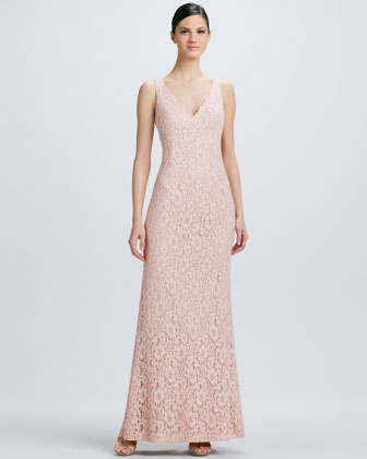 Sleeveless V Neck Lace Gown
