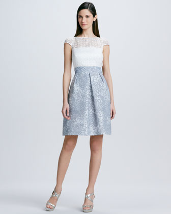 Lace Jacquard-Skirt Cocktail Dress