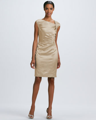 Ruched Asymmetric-Sleeve Cocktail Dress