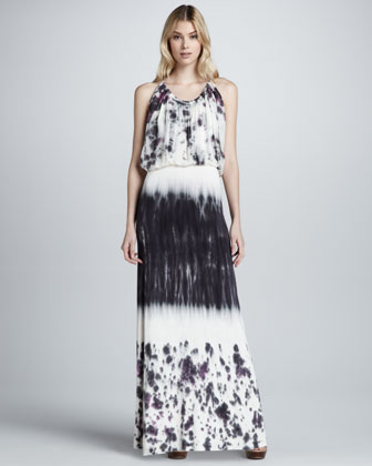 Debi Watercolor-Print Maxi Dress