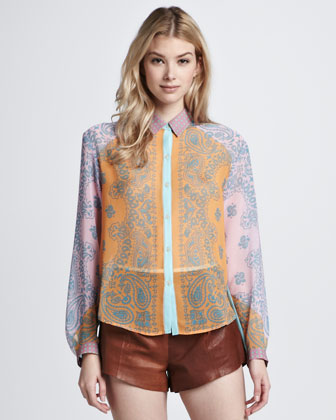 Riding West Paisley-Print Blouse