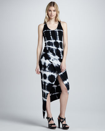 Sassy Crosshatch-Print Maxi Dress, Black
