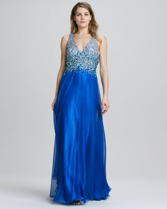 Halter Beaded Open-Back Gown