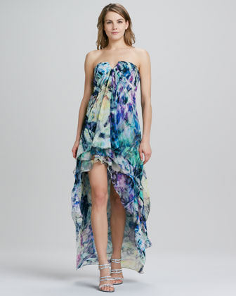 Strapless High-Low Floral-Print Gown