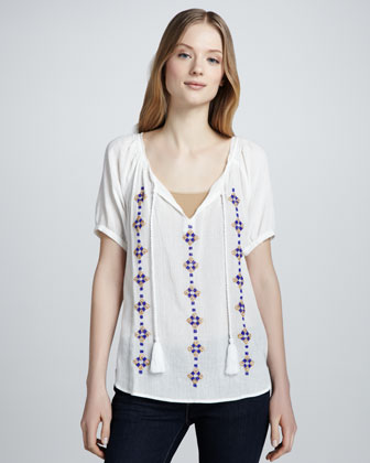 Women's Joie Ruel Embroidered Gauze Shirt