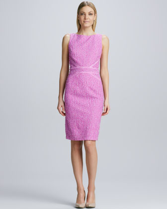 Tweed Ribbon-Trimmed Sheath Dress