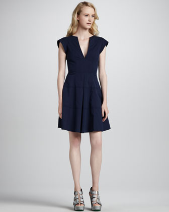 Zorba Cutout-Back Cotton Dress, Indigo