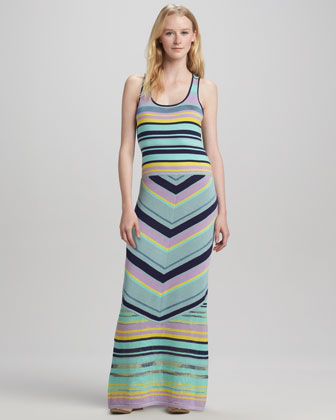 Issos Tambourine Mix-Stripe Maxi Dress