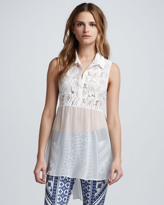 Sheer Open Back Lace Tunic