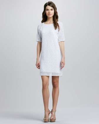 Short-Sleeve Lace Shift Dress