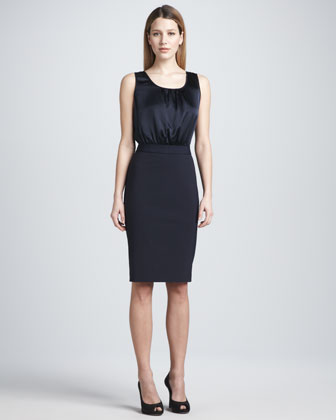 Sleeveless Gathered Scoop-Neck Dress
