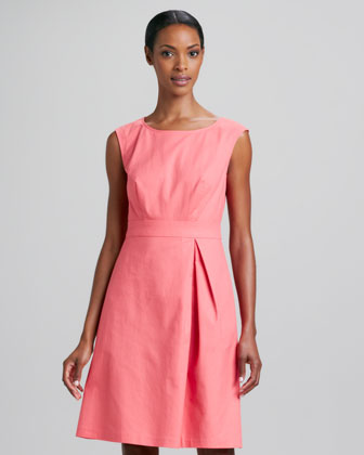 Joy A-line Front-Pleat Dress