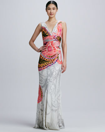 Double-V Printed Gown