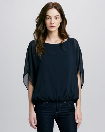 Strayla Batwing Top, Navy