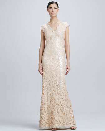 Sequined Lace V-Neck Gown