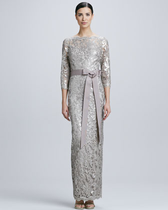 Sequined Lace Boat-Neck Gown