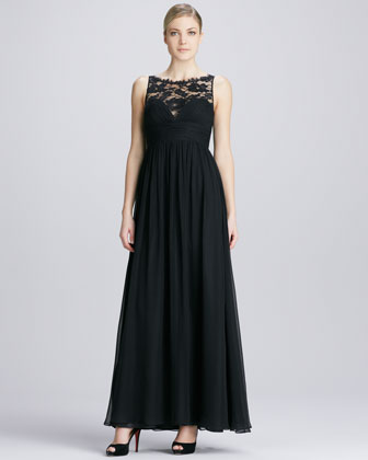 Sleeveless Lace Illusion Neck Gown