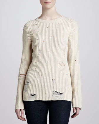 Cashmere Distressed Crewneck Sweater