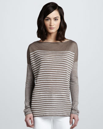 Breton Striped Boat-Neck Top, Earth