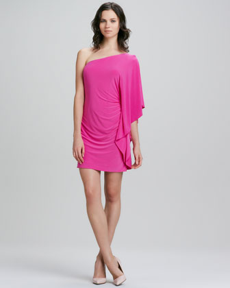 Cosmic One-Shoulder Ruffle Dress