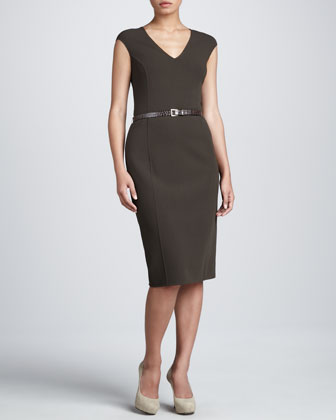 Belted Sheath Dress, Teak