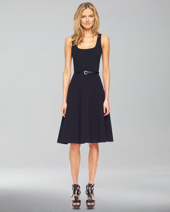 Square-Neck Belted A-Line Dress, Black