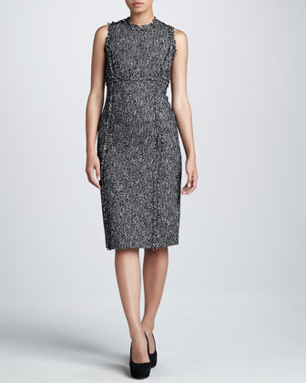 Tweed Princess-Seam Sheath Dress
