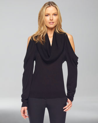 Cold-Shoulder Cowl-Neck Top, Black