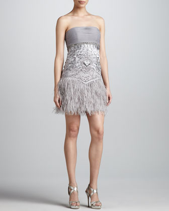 Strapless Feather-Hem Dress