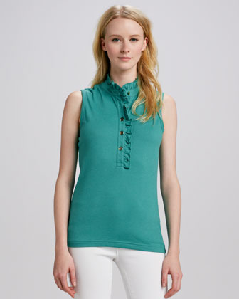 Lidia Ruffle-Placket Polo