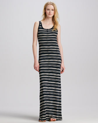Jessica Striped Silk Maxi Dress