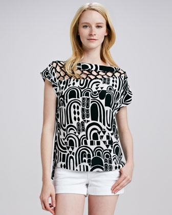 Sculptor Printed Silk Top