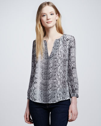 Women's Joie Pearline Snake-Print Blouse