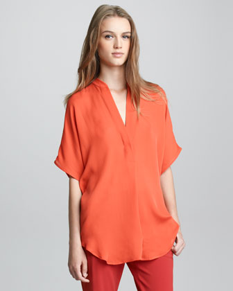Half-Sleeve Half-Placket Top
