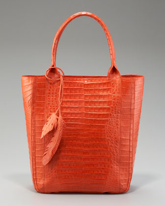 Crocodile Leaf Tote, Orange