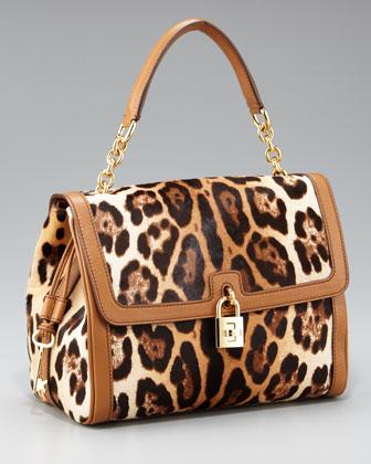 Dolce Leopard-Print Calf Hair Bag.